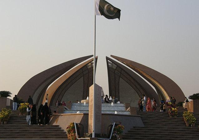 Bandera de Pakistán en Islamabad