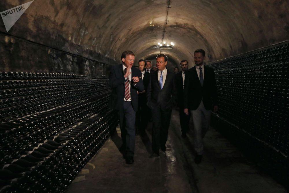 El primer ministro ruso, Dmitri Medvédev, inspecciona las bodegas de la compañía rusa productora de vino y champaña Abrau-Durso