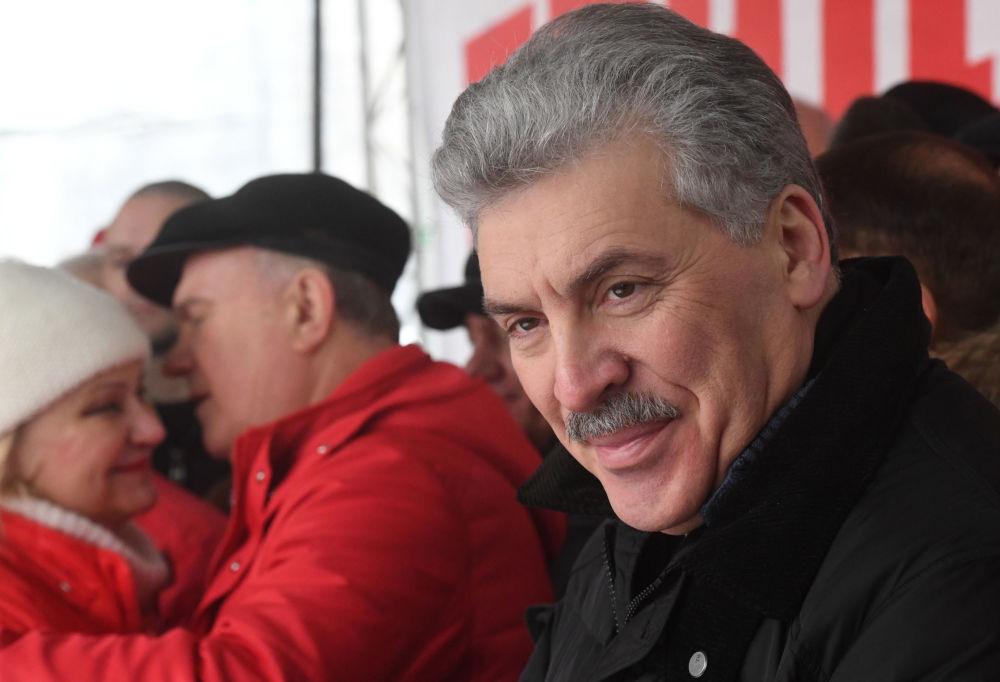 El candidato a la Presidencia de Rusia por el Partido Comunista, Pável Grudinin, en la manifestación 'Por la Justicia Social'