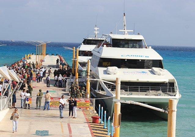 Lugar de la explosión en un transbordador turístico en Playa del Carmen