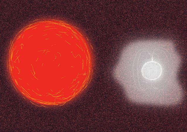 Interacción entre una estrella roja gigante y una estrella de neutrones, representación artística