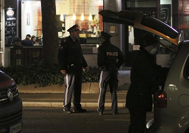 El lugar de ataque con cuchillo en Viena, Austria