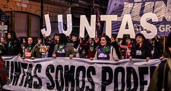 Marcha por los derechos de la mujer en Argentina