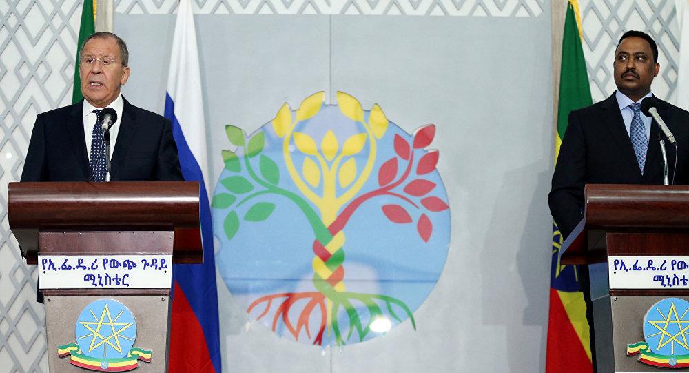 El ministro de Exteriores de Rusia, Serguéi Lavrov, y el ministro de Exteriores de Etiopía, Workneh Gebeyehu