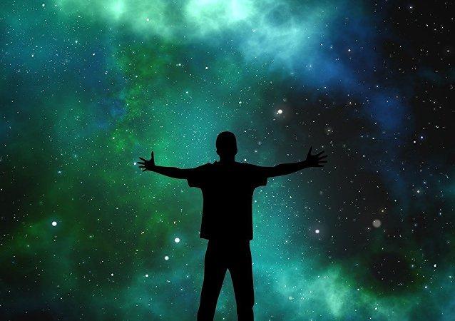 Un hombre mirando el universo (ilustración)