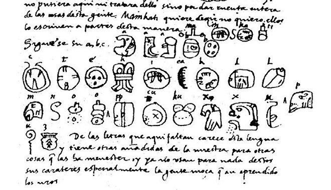 Fragmento del manuscrito de la Relación de las cosas de Yucatán, que Yuri Knórozov utilizó como clave para descifrar la escritura maya