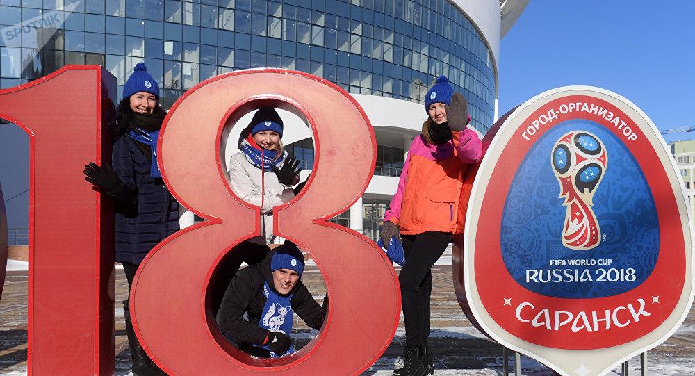Voluntarios en Saransk, una de las ciudades que albergará el Mundial 2018
