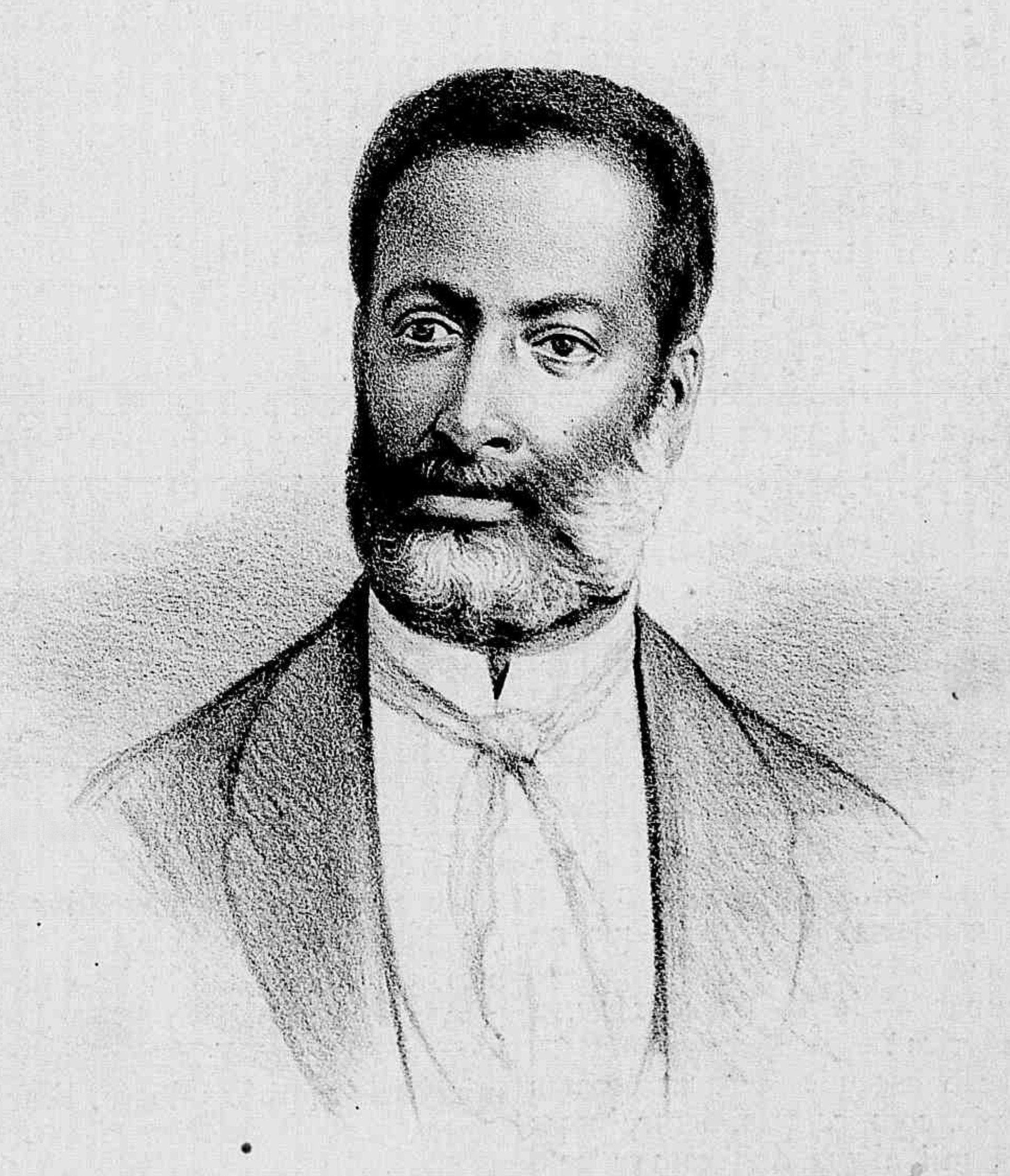 Luiz Gama, en una caricatura de 1882 del dibujante Raúl Pompeia