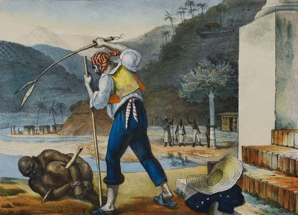 En la época de la colonia, los esclavos en Brasil estaban sometidos a una situación de vejaciones y castigos, como se ve en este cuadro de Jean-Baptiste Debret (1768-1848)