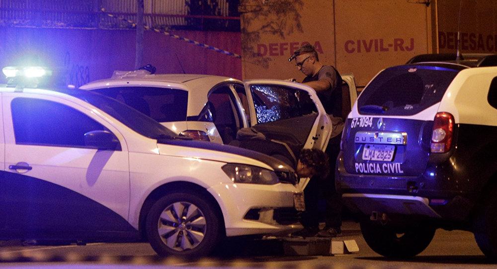Lugar del asesinato de la consejal brasileña Marielle Franco en Río de Janeiro