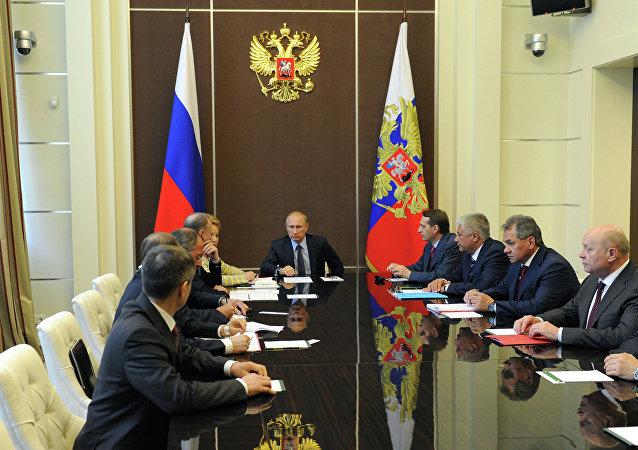Presidente de Rusia Vladímir Putin durante la reunion con el Consejo de Seguridad de Rusa (Archivo)