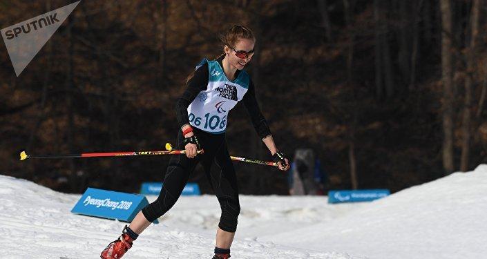 Mikhalina Lysova, biatlonista rusa en durante los Juegos Paralímpicos en Pyeongchang