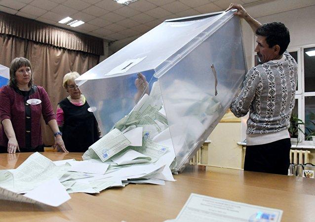 El cálculo de votos tras las elecciones presidenciales en Rusia