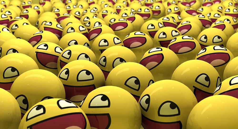 Emoticones sonrientes en forma de pelotas