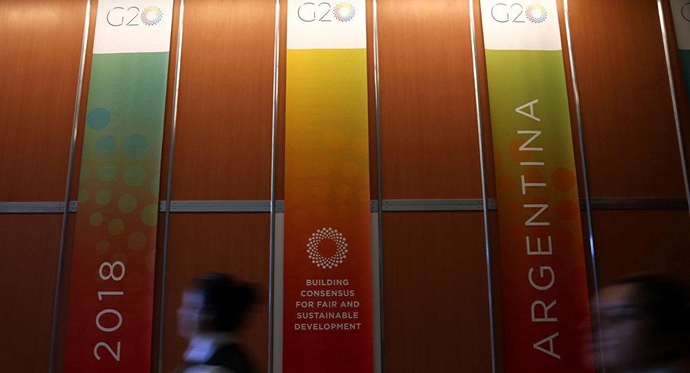 Logo de G20 en Argentina