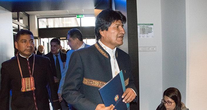 Evo Morales, presidente de Bolivia, en la Corte Internacional de Justicia