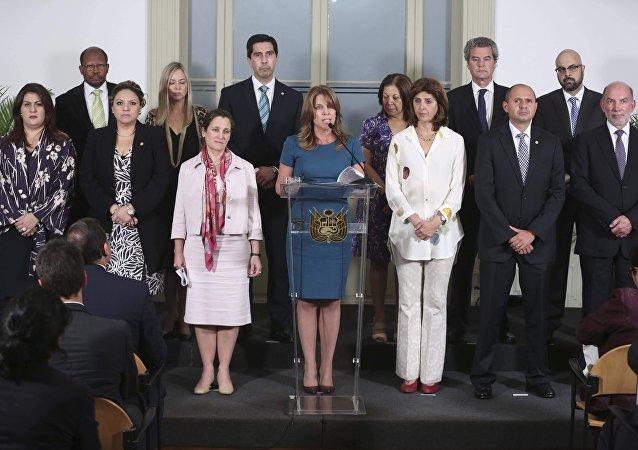 Conferencia de prensa del Grupo de Lima encabezada por la canciller de Perú, Cayetana Aljovín, el 13 de febrero de 2018.