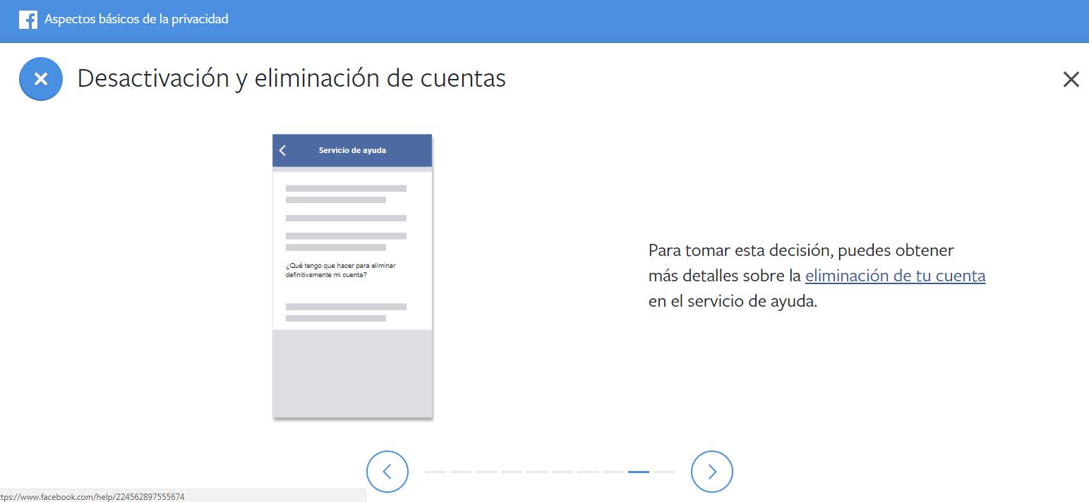 Tercer paso del tutorial para eliminar tu cuenta de Facebook