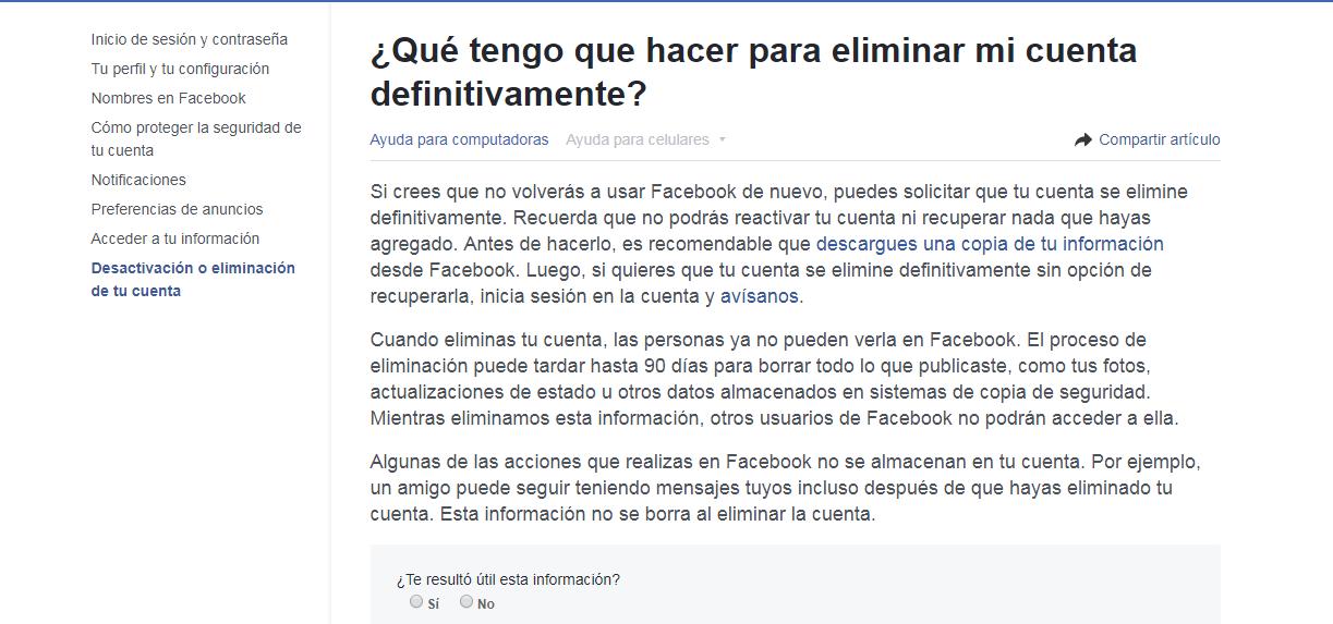 Cuarto paso del tutorial para eliminar tu cuenta de Facebook