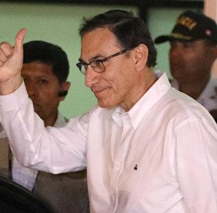 El vicepresidente de Perú, Martín Vizcarra, llega a Lima el 23 de marzo de 2018.