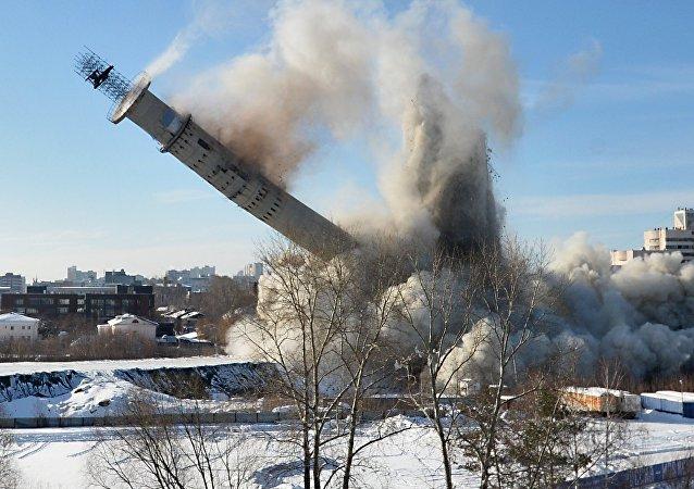 La demolición de una torre de televisión abandonada en Ekaterimburgo