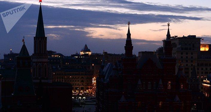 La Hora del Planeta en Moscú, foto de archivo