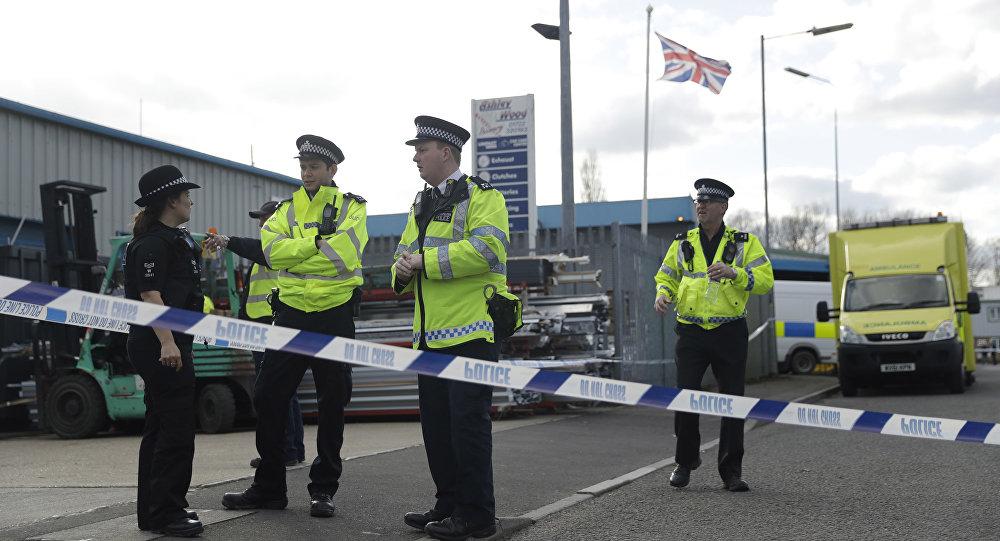 Policías británicos en Salisbury, Inglaterra