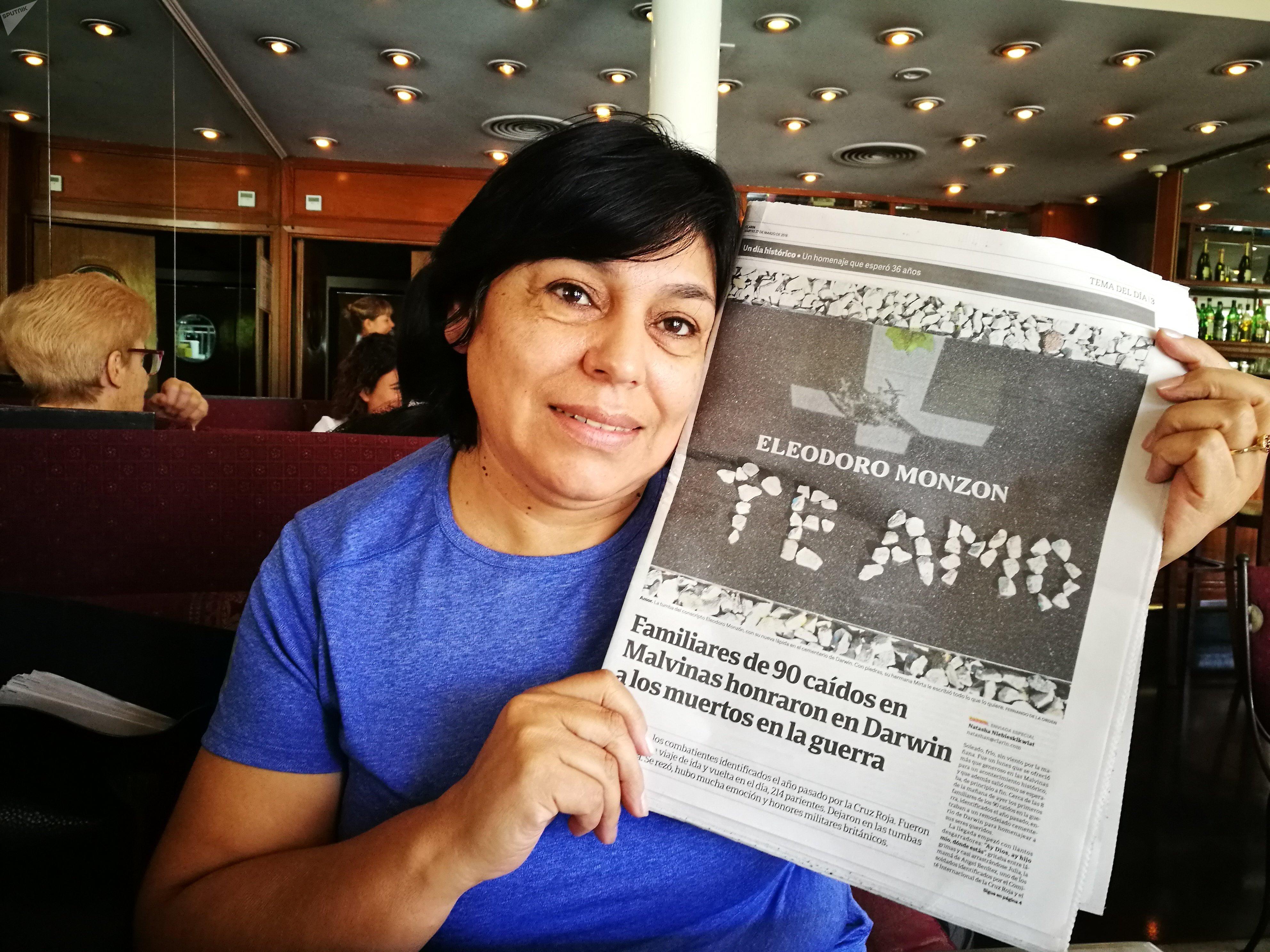 Mirta Monzón, hermana de Eleodoro Monzón, combatiente argentino caído en Malvinas