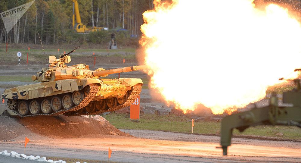 Exhibición de un tanque T-90A durante una feria de armas (archivo)