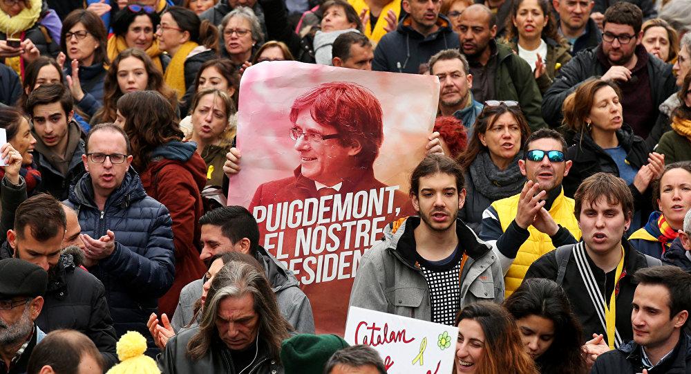 Los catalanes protestan tras la detención de Puigdemont (archivo)
