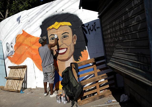 Retrato de Marielle Franco, la consejal brasileña asesinada