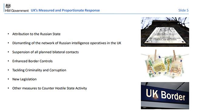 Diapositiva 5 de la presentación británica sobre el incidente de Salisbury