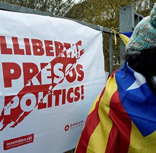 Manifestación por libertad de Puigdemont en Neumuenster, Alemania