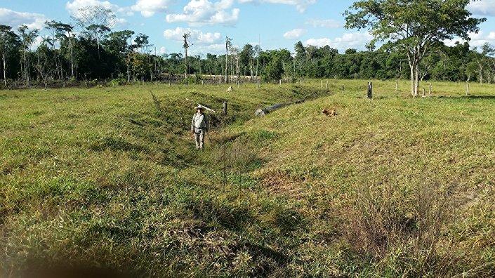 Un miembro del equipo de arqueólogos de la Universidad de Exeter en uno de los geoglifos encontrados en la Cuenca del Amazonas