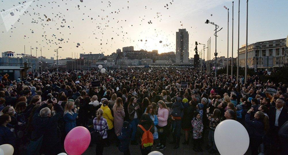 Homenaje a víctimas del incendio en la ciudad rusa de Kémerovo