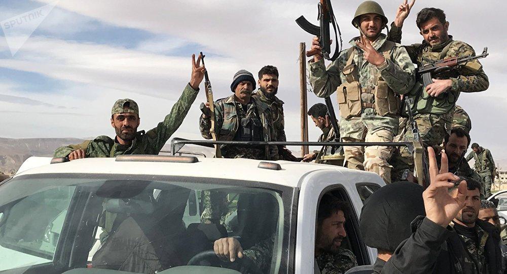 Militares sirios en Guta Oriental