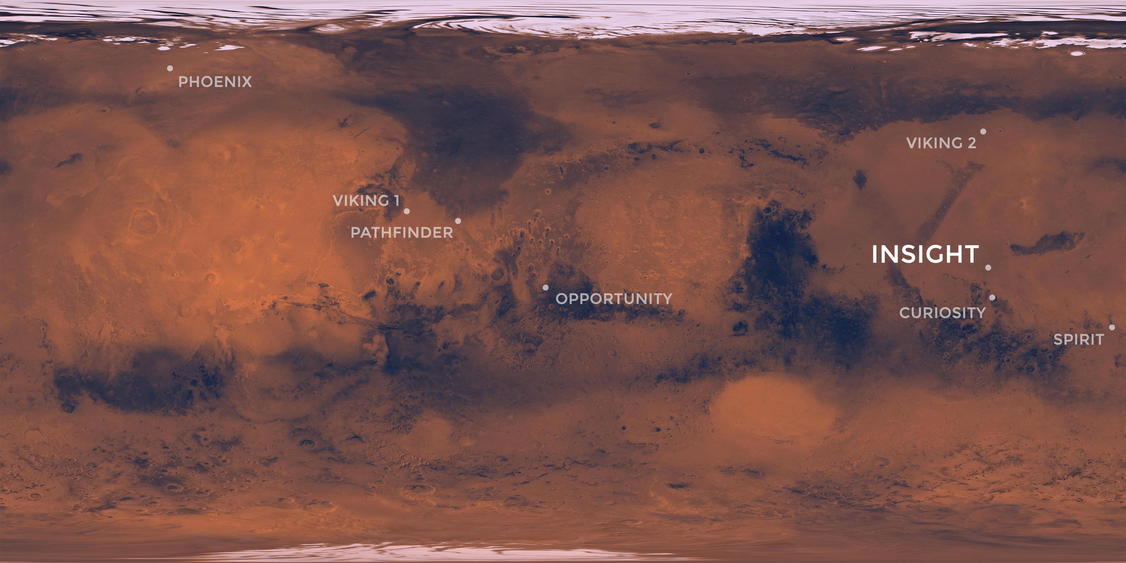 En este mapa de Marte se señala el lugar en el que quedará estacionado InSight y otras misiones de la NASA