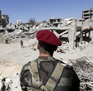 Los militares sirios en Guta Oriental, Siria