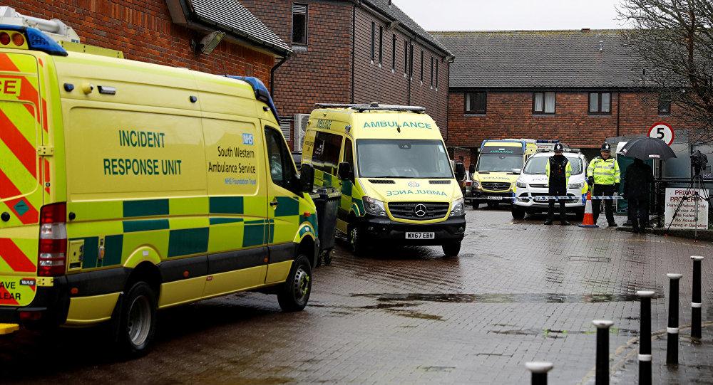 Servicios de emergencia en el lugar del envenenamiento de Skripal en Salisbury, Reino Unido