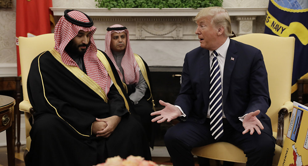 Mohamed bin Salman Saud, príncipe heredero de Arabia Saudí, y Donald Trump, presidente de EEUU, se reúnen en Washington, EEUU, el 20 de marzo de 2018