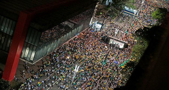 Protestas en Sao Paulo, Brasil, contra el expresidente brasileño Luiz Inácio Lula da Silva