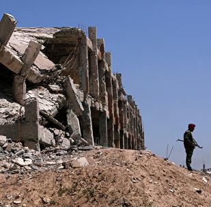 Un combatiente sirio en Guta Oriental
