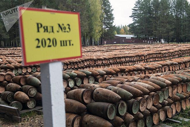 Municiones desactivadas esperan ser recicladas en la planta procesadora de armas químicas de Kizne, Rusia (archivo)