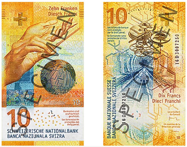 Billete de 10 francos suizos