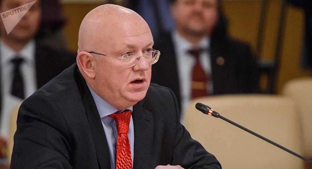 Vasili Nebenzia, el Representante Permanente de Rusia ante las Naciones Unidas en Nueva York, EEUU,  y el Representante de Rusia ante el Consejo de Seguridad de la ONU