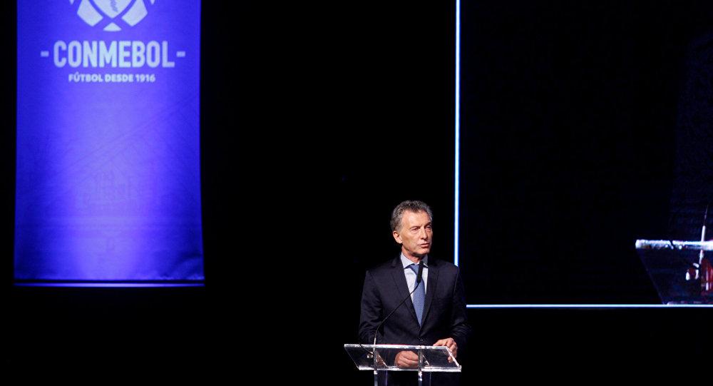 Mauricio Macri, el presidente de Argentina, da un discurso en el 68 Congreso ordinario de Conmebol
