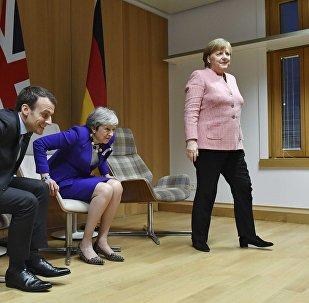 Presidente de Francia, Emmanuel Macron, primera ministra del Reino Unido, Theresa May y canciller de Alemania, Angela Merkel