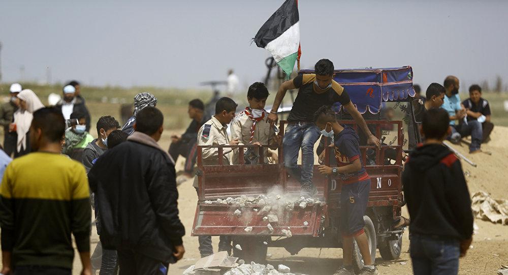 Los palestinos de Gaza protestan en la frontera con Israel
