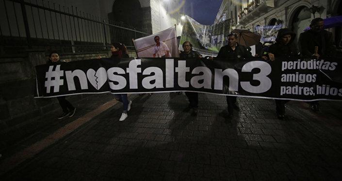 Familiares de los periodistas secuestrados en la frontera entre Colombia y ecuador