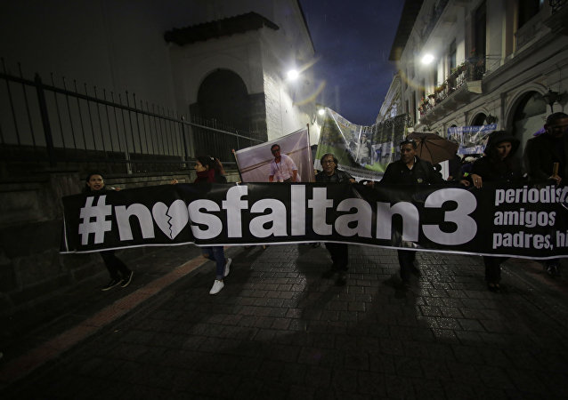 Familiares de los periodistas asesinados en la frontera entre Colombia y ecuador